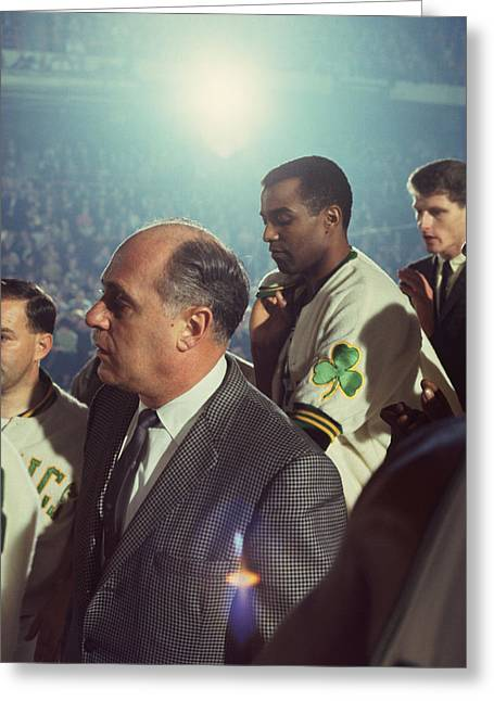 Boston Garden Greeting Cards - Red Auerbach Boston Celtics Legend Greeting Card by Retro Images Archive