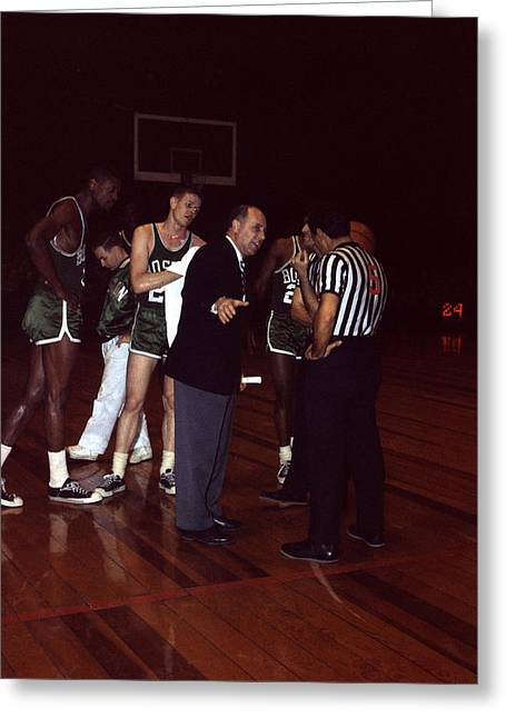 Referee Greeting Cards - Red Auerbach  Greeting Card by Retro Images Archive