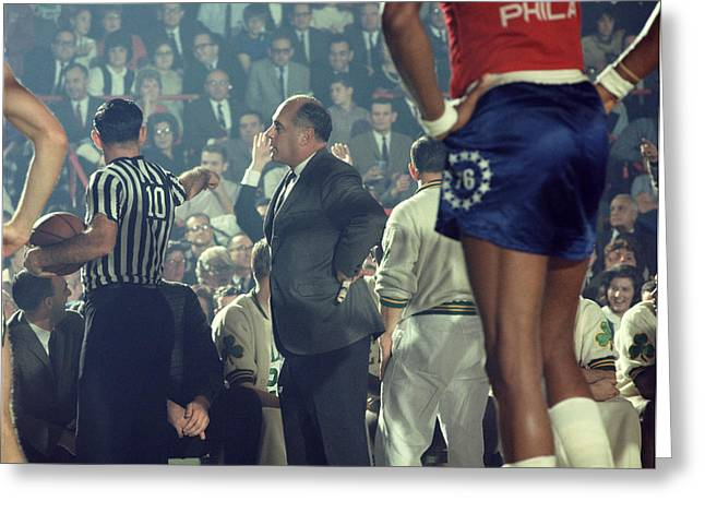 Red Auerbach Talks With Ref Greeting Card by Retro Images Archive