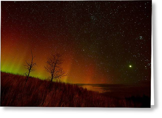 Northernlights Greeting Cards - Red Aurora over the Sledding Hill at Conserve School Greeting Card by Jeff Rennicke