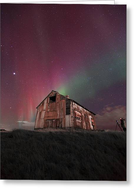 Red Aurora Over Old House. Greeting Card by Kjartan Gudmundur Juliusson