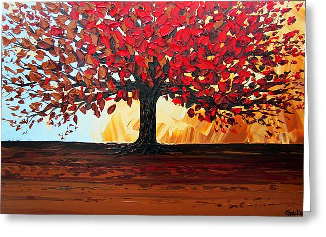 Artist Christine Krainock Greeting Cards - Red Autumn Tree of Life Greeting Card by Christine Krainock