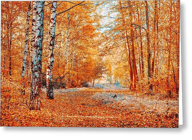 Fallen Leaf Greeting Cards - Red Autumnal Birch Grove Greeting Card by Jenny Rainbow