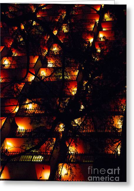 Cubicle Greeting Cards - Red Balconies Greeting Card by Alycia Christine