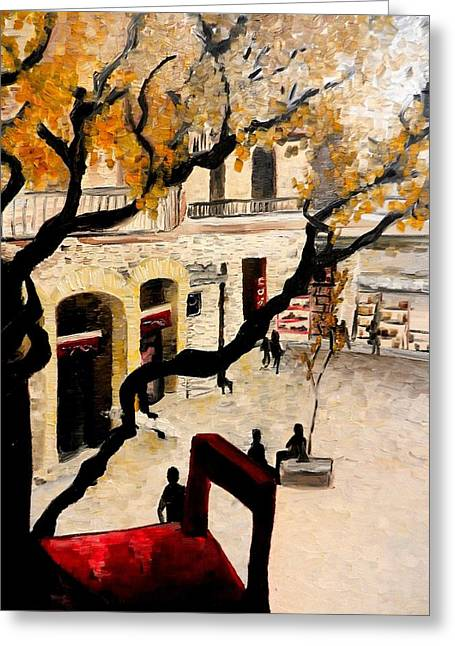 Italian Shopping Paintings Greeting Cards - Red Balcony Chair Greeting Card by Liz Young