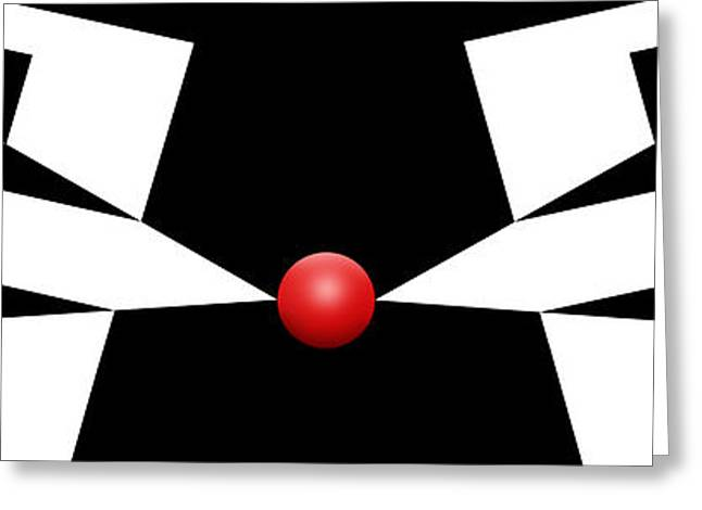 Modern Art Greeting Cards - Red Ball 11 H Panoramic Greeting Card by Mike McGlothlen