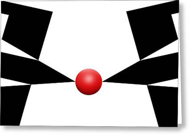 Modern Art Greeting Cards - Red Ball 11a H Panoramic Greeting Card by Mike McGlothlen