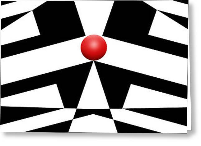Modern Art Greeting Cards - Red Ball 12 H Panoramic Greeting Card by Mike McGlothlen