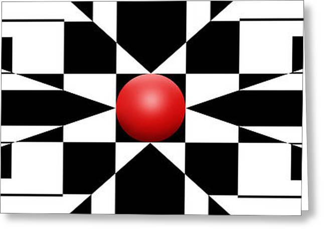 Modern Art Greeting Cards - Red Ball 1 Panoramic Greeting Card by Mike McGlothlen