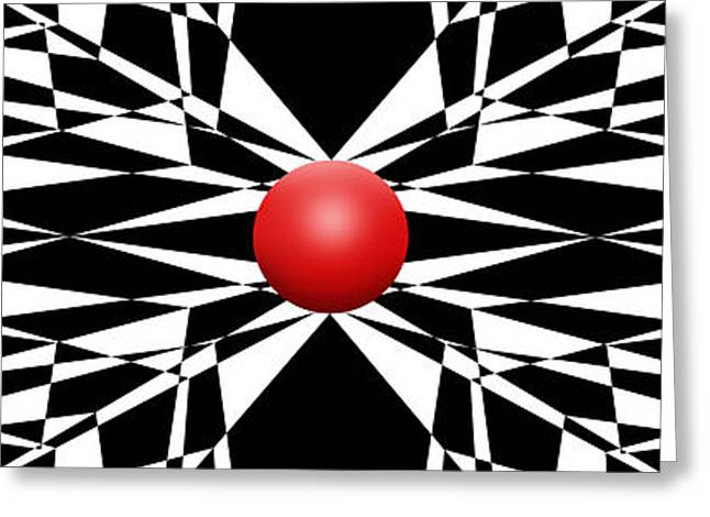 Modern Art Greeting Cards - Red Ball 16 Panoramic Greeting Card by Mike McGlothlen