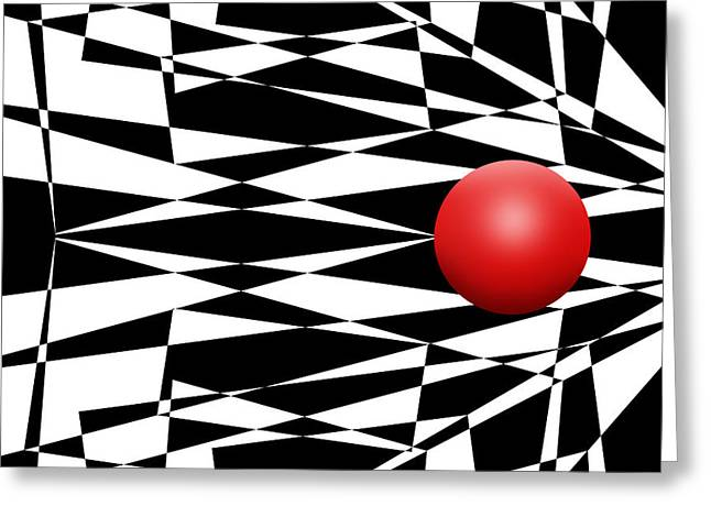 Pop Mixed Media Greeting Cards - Red Ball 17 Greeting Card by Mike McGlothlen