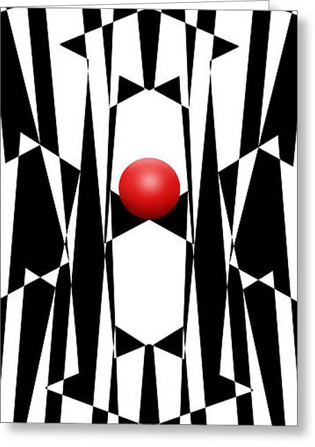 Op Art Greeting Cards - Red Ball 20 V Panoramic Greeting Card by Mike McGlothlen