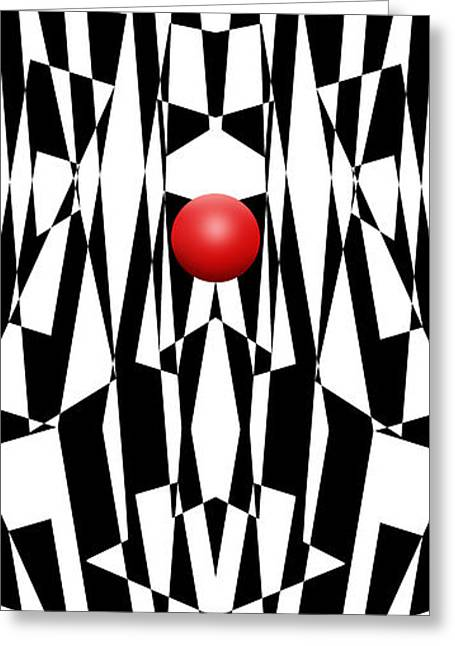 Op Art Greeting Cards - Red Ball 21 V Panoramic Greeting Card by Mike McGlothlen