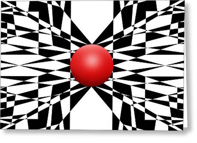 Modern Art Greeting Cards - Red Ball 22 Panoramic Greeting Card by Mike McGlothlen