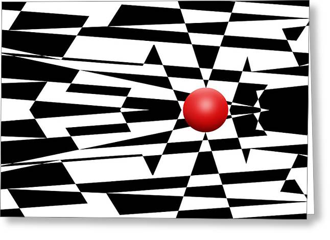 Op Art Greeting Cards - Red Ball 23 Greeting Card by Mike McGlothlen