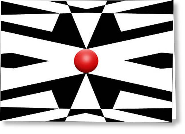 Modern Art Greeting Cards - Red Ball 25 Panoramic Greeting Card by Mike McGlothlen