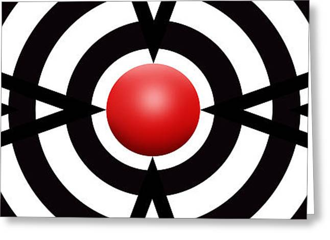 Modern Art Greeting Cards - Red Ball 6 Panoramic Greeting Card by Mike McGlothlen