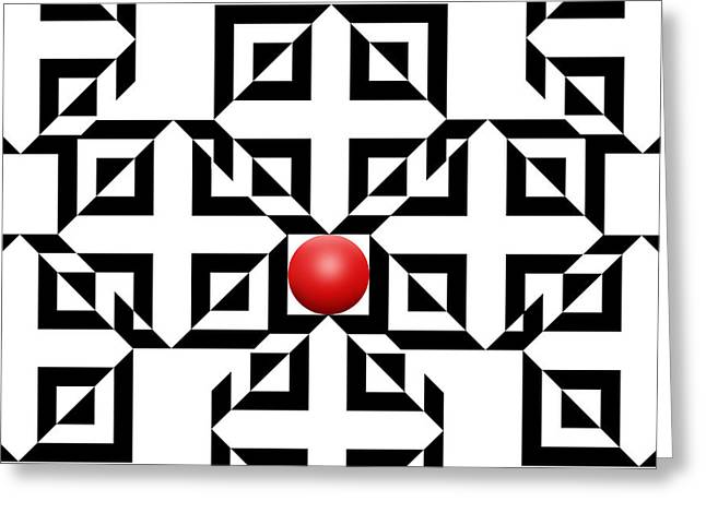 White Drawings Greeting Cards - Red Ball 5a  Greeting Card by Mike McGlothlen