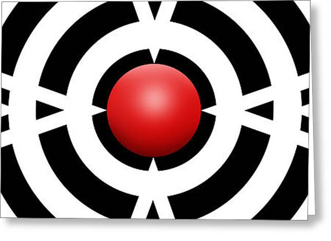 Abstract Drawings Greeting Cards - Red Ball 6a Panoramic Greeting Card by Mike McGlothlen