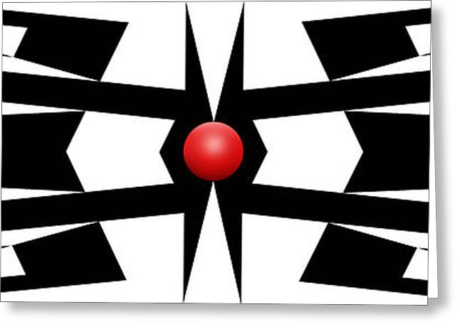 Modern Art Greeting Cards - Red Ball 9a Panoramic Greeting Card by Mike McGlothlen