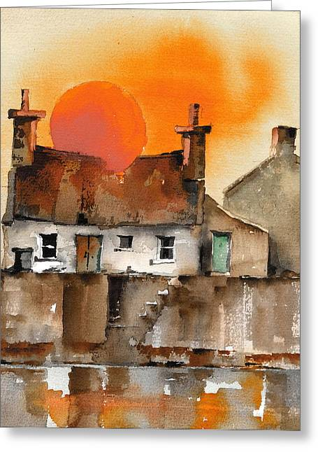 Aran Islands Greeting Cards - Red Ball Sunset Greeting Card by Val Byrne