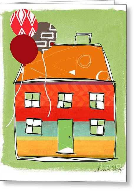 Kid Mixed Media Greeting Cards - Red Balloon Greeting Card by Linda Woods