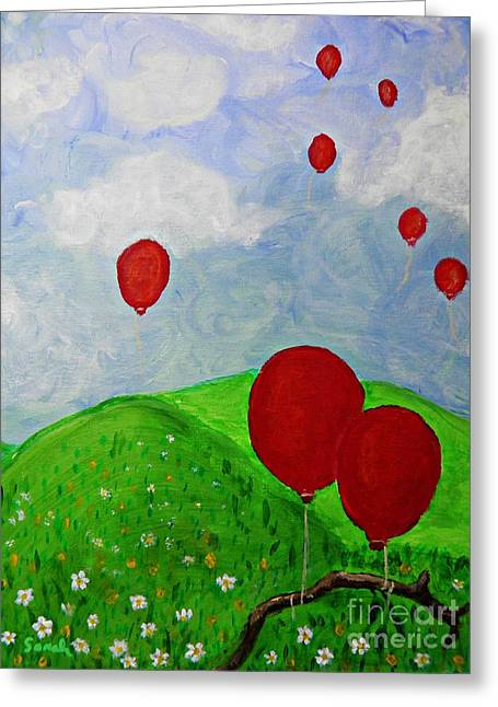 Red Balloons Greeting Card by Sarah Loft