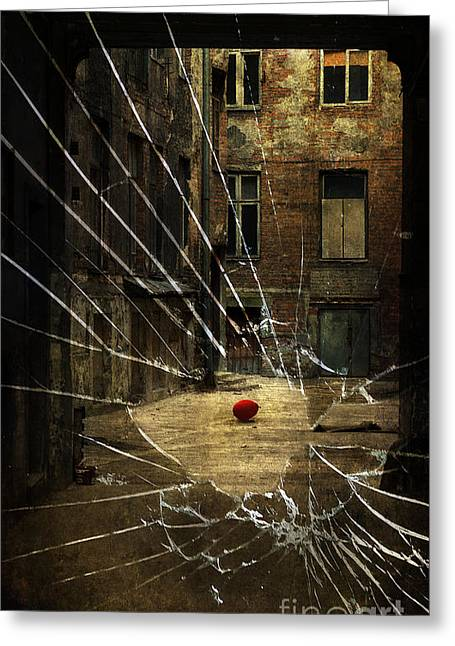 Brown Tones Greeting Cards - An old courtyard and red baloon on the floor seeing through broken window glass Greeting Card by Jaroslaw Blaminsky