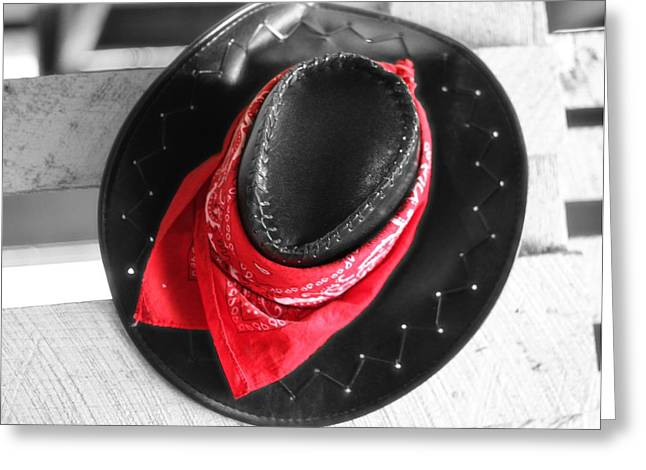 Cowgirl And Cowboy Greeting Cards - Red Bandana And Cowboy Hat Greeting Card by Dan Sproul