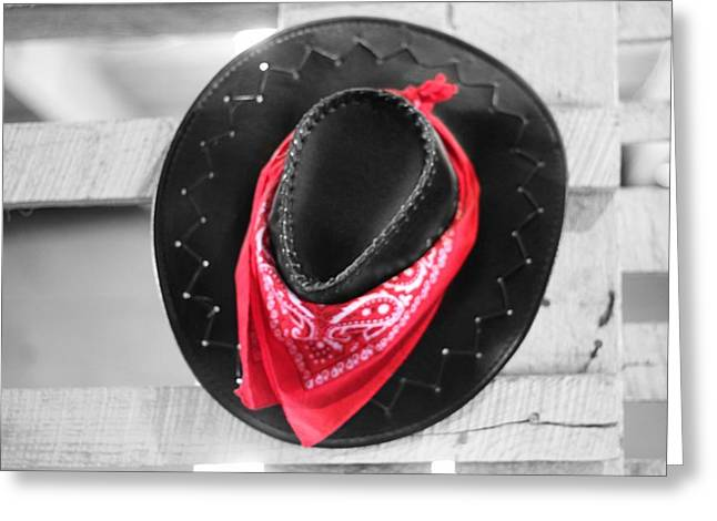 Cowgirl And Cowboy Greeting Cards - Red Bandana Black Hat Greeting Card by Dan Sproul