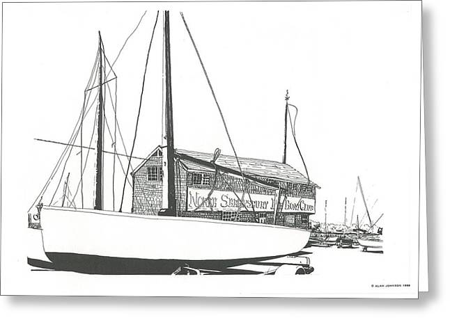 Atlantic Beaches Drawings Greeting Cards - Red Bank Boat Club Greeting Card by Alan Johnson