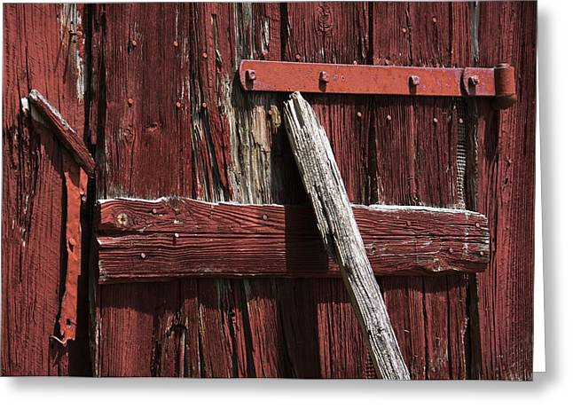 Asymmetrical Greeting Cards - Red Barn Abstract Greeting Card by Rebecca Sherman