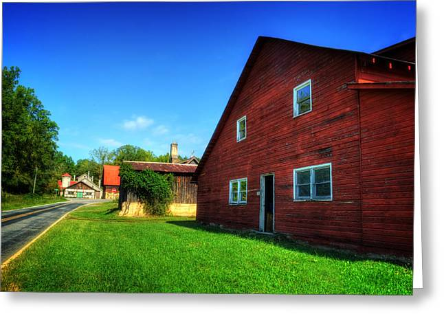 Red Barn And Blacksmith Shop Greeting Card by Greg and Chrystal Mimbs