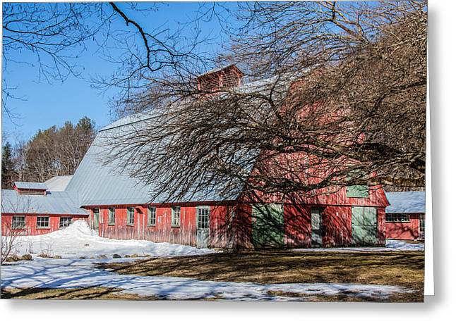 Barn Greeting Cards - Red barn and green doors Greeting Card by Jeff Folger