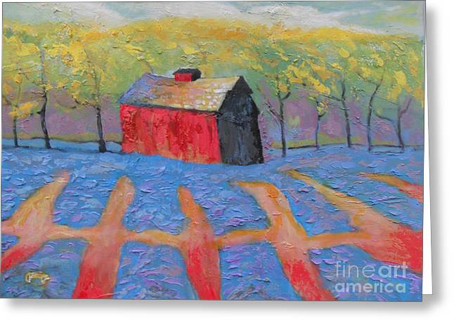Indiana Flowers Greeting Cards - Red Barn And Lavender Greeting Card by Kip Decker