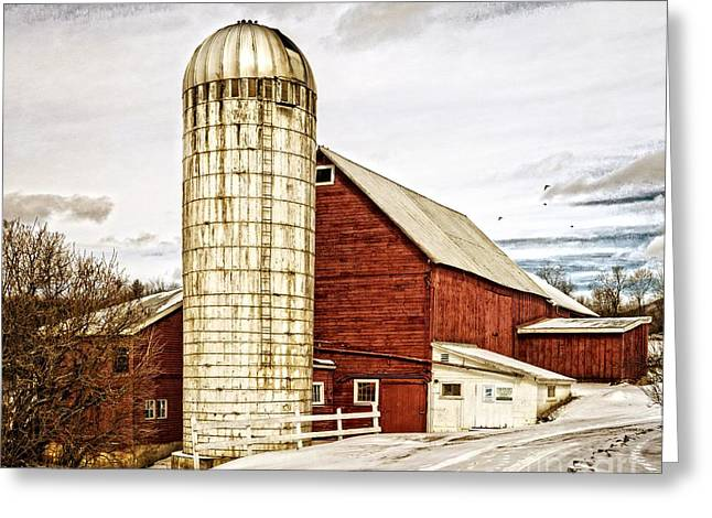 Red Buildings Greeting Cards - Red Barn and Silo Vermont Greeting Card by Edward Fielding