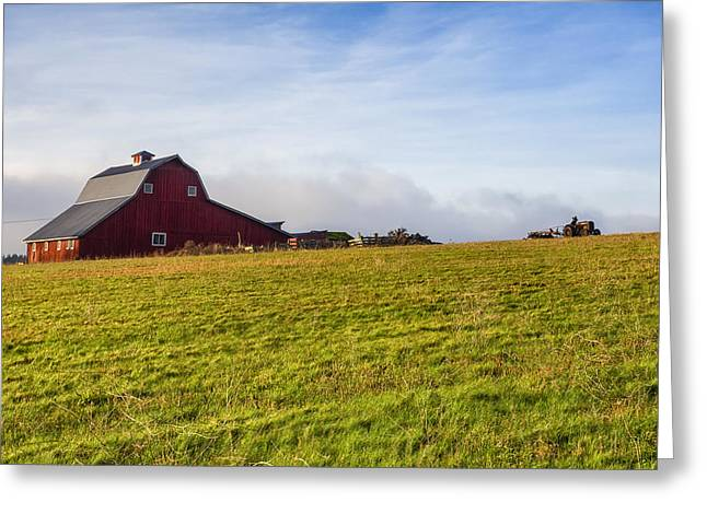Metal Roof Greeting Cards - Red Barn and Tractor Greeting Card by Kyle Wasielewski
