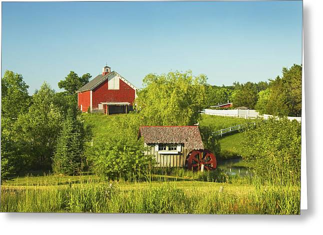 Maine Farms Greeting Cards - Red Barn And Water Mill On Farm In Maine Greeting Card by Keith Webber Jr