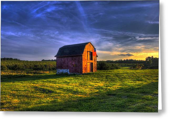 Autumn Scenes Greeting Cards - Red Barn Autumn Sunset Greeting Card by Joann Vitali