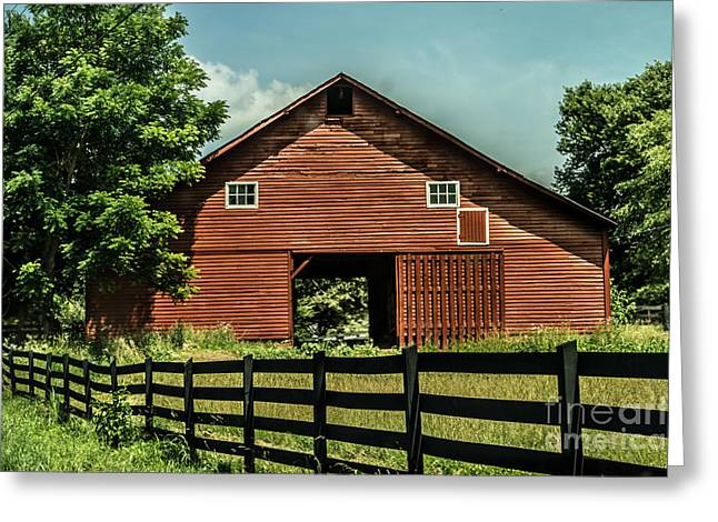 Photographs With Red. Greeting Cards - Red Barn Greeting Card by Debbie Green