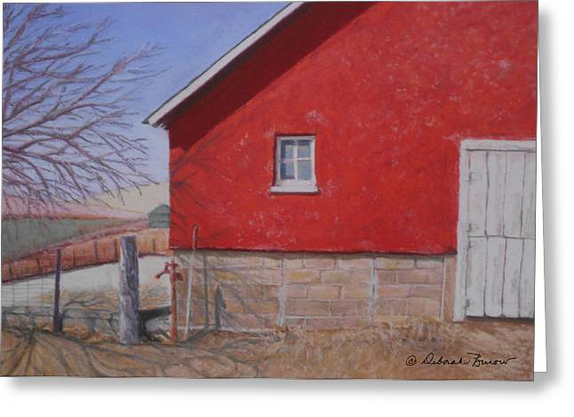 Old Barn Pastels Greeting Cards - Red Barn Greeting Card by Deborah Burow