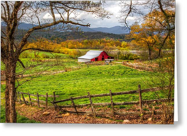 Tennessee Barn Greeting Cards - Red Barn Greeting Card by Debra and Dave Vanderlaan