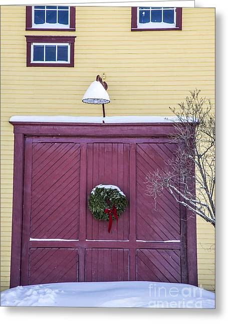 Maine Greeting Cards - Red Barn Door Greeting Card by Alana Ranney