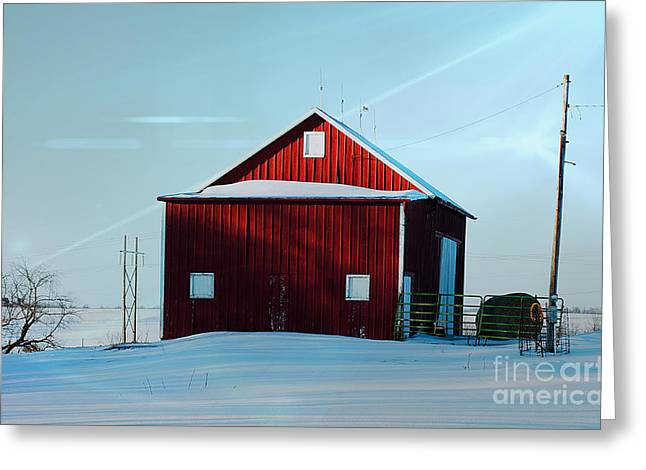 Red Barn During Illinois Winter Greeting Card by Luther   Fine Art