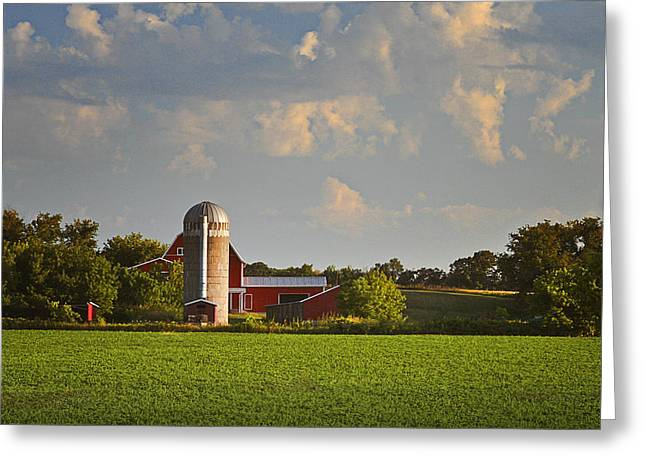 Barbara Smith Greeting Cards - Red Barn Early Morning Greeting Card by Barbara Smith