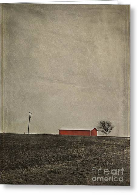 Farmers Field Greeting Cards - Red Barn Greeting Card by Elena Nosyreva
