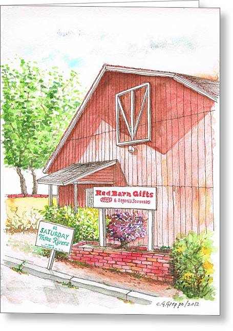 Barn Door Paintings Greeting Cards - Red Barn Gift Shop in Three Rivers - California Greeting Card by Carlos G Groppa