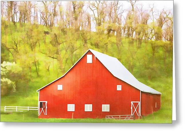 Red Barn Greeting Cards - Red Barn Green Hillside Greeting Card by Carol Leigh