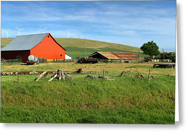 Agricultural Building Greeting Cards - Red Barn In A Country Farm Eastern Greeting Card by Panoramic Images