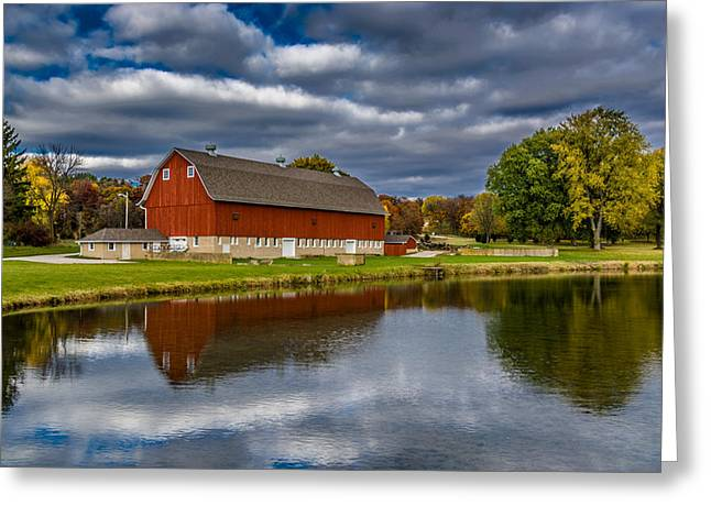 Refelctions Greeting Cards - Red Barn in Autumn Greeting Card by Randy Scherkenbach